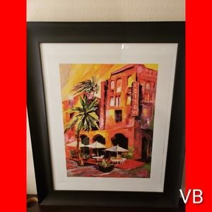 Miami Watercolor Large Black Framed Print By